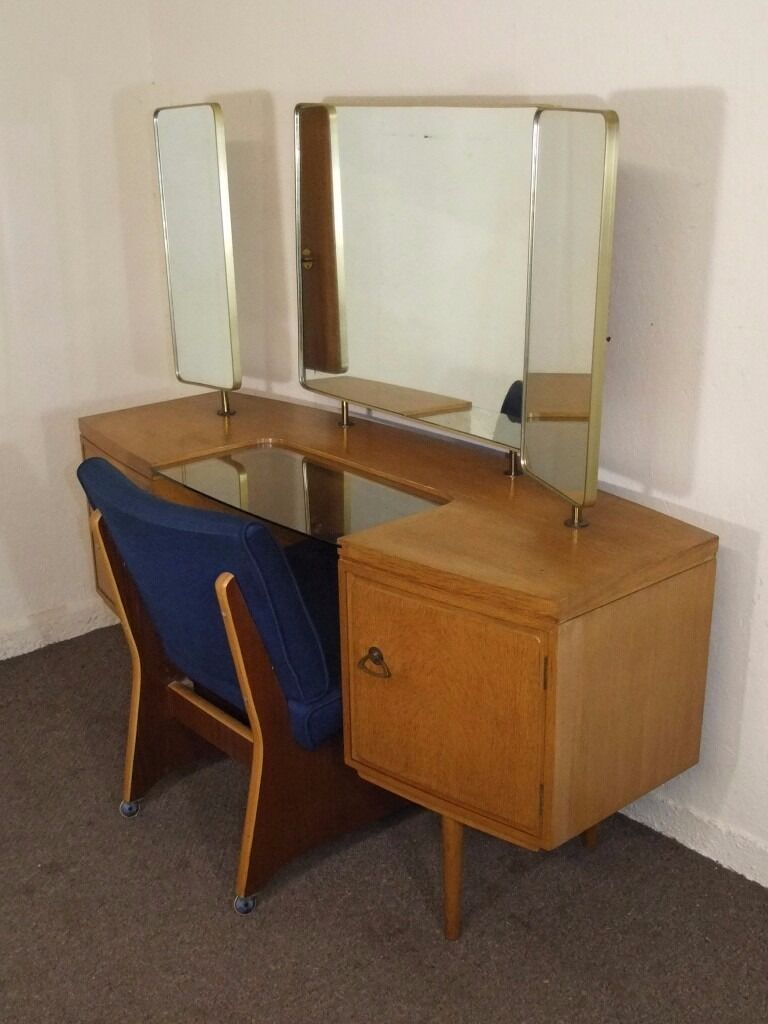 Vintage retro golden oak dressing table chair free deliv for Furniture queensferry
