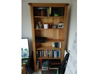 Tall solid oak bookcase