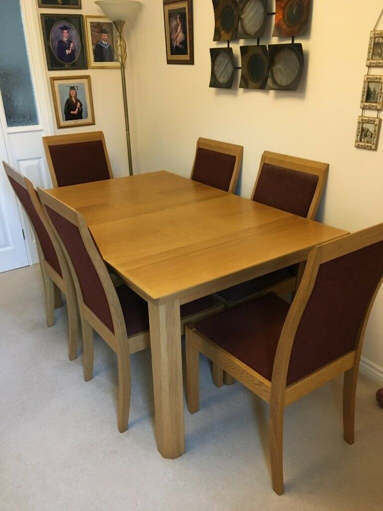 Solid wood light oak extending dining table & 6 chairs ...