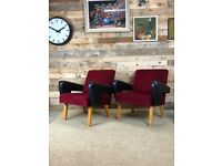 Pair of Czech 1970s Club Chairs in Burgundy and Black