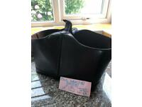Faux leather basket