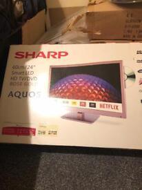 Sharp 24inch smart tv/dvd rose gold LED