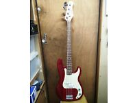 Stagg P250 Bass Guitar in red