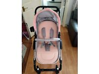 3-1 little Bambino pram with car seat pink and grey