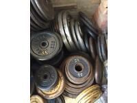 "IRON Weights 1""/ 2"" Olympic plates £1 FOR 1KG Gym equipment barbells dumbbells"
