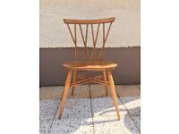 Vintage Ercol Candlestick chair, blonde elm,1960s, very stylish retro desk chair