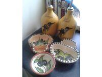 Olives vinegar and oil set