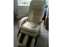 Sterling Silver Sovereign 'S' Massage Chair in cream leather