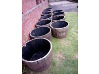 Solid oak garden planters