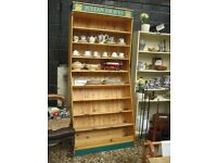 MODERN TALL SOLID PINE SHELVING. 8 SHELVES, 4 UPRIGHT 4 SLANTING. VIEWING/DELIVERY AVAILABLE