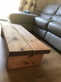Solid Rustic Handmade Coffee Table, finished in a Chunky Country Oak (RRP: £110)