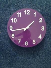 """WALL CLOCK 10"""" diam and bin both in purple £5"""