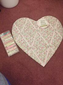 Heart shaped notice board with pegs
