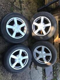 "15"" Fox Allloys 5x112 / 5x100 Very Good Tyres"