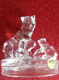 Lead Crystal Cat And Kitten Ornament
