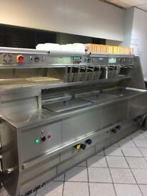 CATERING EQUIPMENT. 3 PAN FRYING RANGE & COUNTER