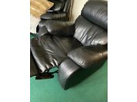 Black leather recliner arm chair