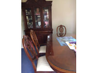 Wooden Dining Table with 6 matching chairs