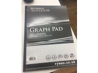 Ryman Superior Graph pad- 75 sheets (5 sheets have been used)