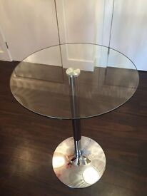 Martin and Frost tall round glass bar / dining / breakfast table