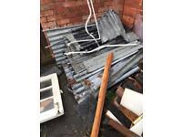 Free corrugated iron sheets and wood