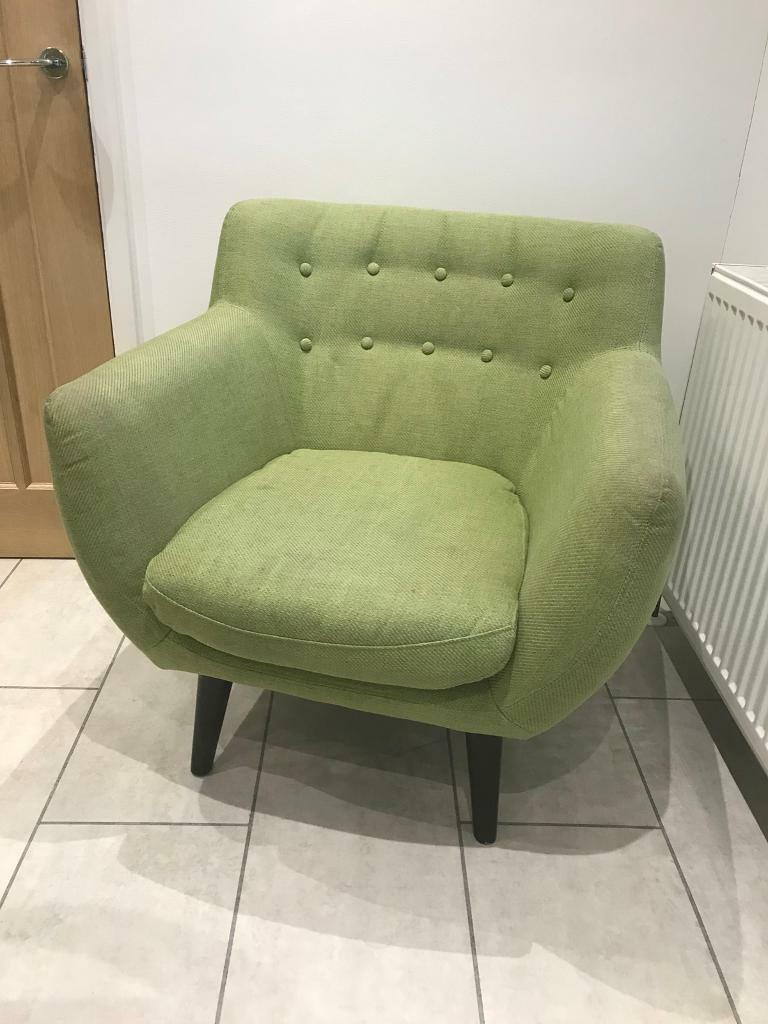 green fabric tub chair armchair seat reading upholstered in