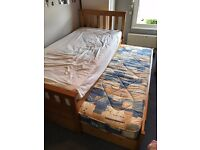 Solid Wooden Single Bed (Including a truckle bed, mattresses & drawers)