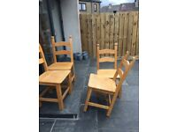 Solid heavy wooden kitchen chairs