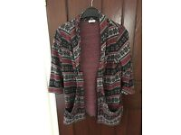 Soft, Red patterned Cardigan, real pockets, almost unworn, size 10