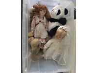 Box of China dolls, soft toys and misc toys