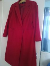 M&S RED COAT BROUGHT IN DECEMBER size 18