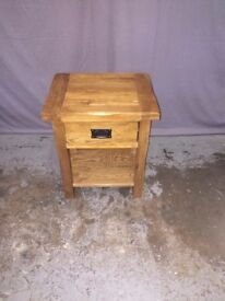 Solid Rustic Oak Small Bedside 1 Drawer Lamp Table Bedroom Furniture