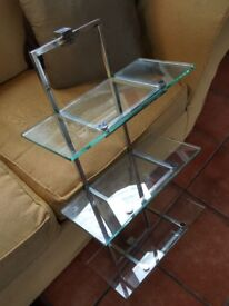 3 tier glass and stainless steel shelves