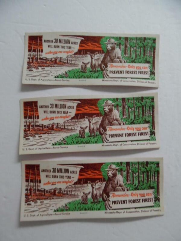 1949 Smokey Bear US Forest Service Only You Can Prevent Forest Fires Blotter Lot