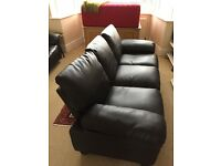 Black leather 3 seater sofa