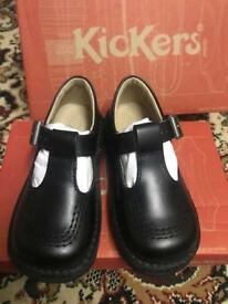 Brand New Kickers size 8 black shoes tbar (back to school)