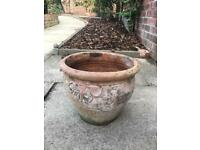 Large Vintage Terracotta Round Planter Outdoor Flower Pot Wth Floral Detail 32cm