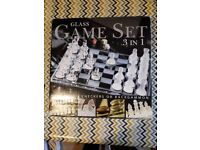 Glass games set 3 in 1 - Chess, Draughts and Backgammon