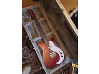 Red danelectro 12 string with hard case