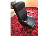 Ikea Malkolm Black Leather Office chair