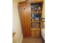 Pine Bedroom furniture wardrobe, chest of draws & pine mirror ideal for childrens or babies bedroom