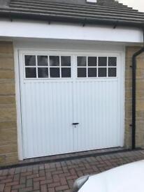 White Modern Garage Door with Windows - Tension intact