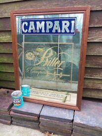 CAMPARI alcohol liqueur breweriana pub advertising mirror 51cm X 66cm
