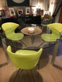 Designer glass dining table - needs repaired (chairs not included)