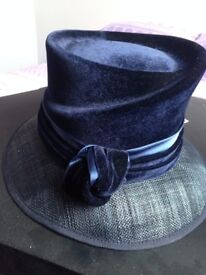 Winter Wedding Hat in a lovely rich sapphire blue - part velvet/part straw