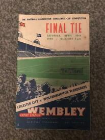 Wolves vs Leicester 1949 FA Cup Programme and Ticket