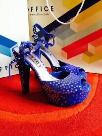 Ladies electric blue suede heels size 4