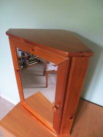 Corner Bathroom Mirrored Wall Cabinet in Antique Pine