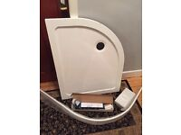 New, unused shower tray 1000x800 offset quadrant with accessories