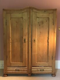 Rustic stripped pine antique wardrobe with full length mirror